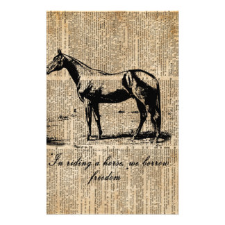 Horse Champion Colt Over Vintage Dictionary Page Stationery