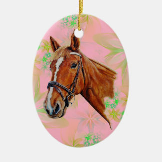 Horse, chestnut mare with a white blaze, painting. ceramic ornament