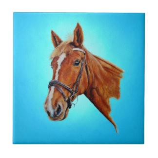 Horse, chestnut mare with a white blaze, painting. ceramic tile