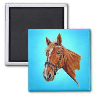 Horse, chestnut mare with a white blaze, painting. magnet