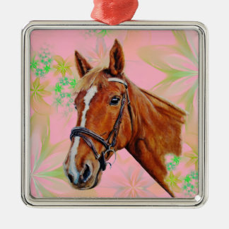 Horse, chestnut mare with a white blaze, painting. metal ornament