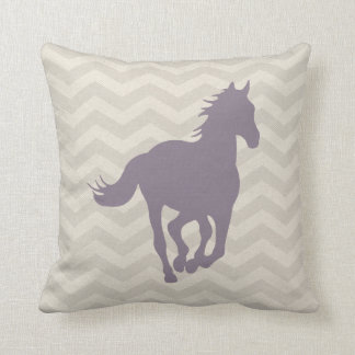 Horse Chevron Pattern Lavender Grey Cream Throw Pillows