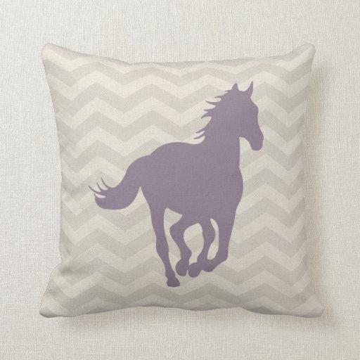 Lavender And Gray Throw Pillows : Horse Chevron Pattern Lavender Grey Cream Throw Pillows Zazzle