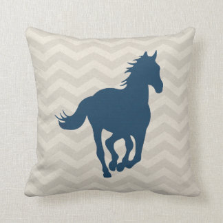 Horse Chevron Pattern Navy Blue Grey Cream Throw Pillow