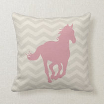 Horse Chevron Pattern Pink Grey Cream Throw Pillow