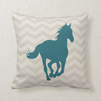 Horse Chevron Pattern Teal Green Grey Cream Throw Pillow