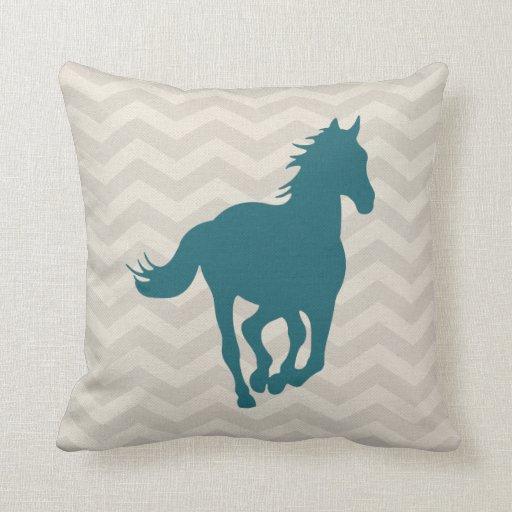 Decorative Horse Pillows : Horse Chevron Pattern Teal Green Grey Cream Throw Pillow Zazzle