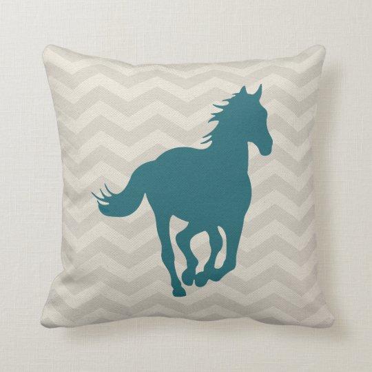 Teal And Cream Decorative Pillows : Horse Chevron Pattern Teal Green Grey Cream Throw Pillow Zazzle