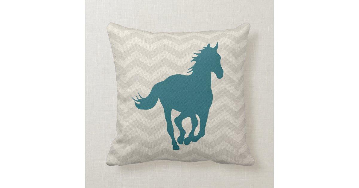 Horse Chevron Pattern Teal Green Grey Cream Throw Pillow Zazzle