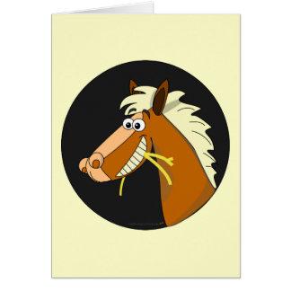 Horse Chewing Hay Birthday Card (cream)