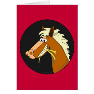 Horse Chewing Hay Birthday Card (red)