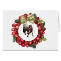 Horse Christmas Apple Wreath Card