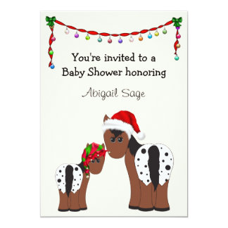 Horse Christmas Holiday Baby Shower Invitation