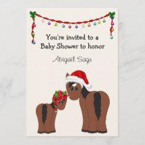 Horse Christmas Holiday Baby Shower Invitation