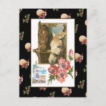 Horse Christmas Holiday Postcard
