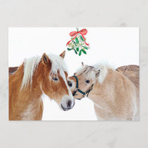 Horse Christmas Mistletoe Equestrian Cute Ponies Invitation
