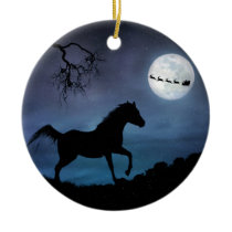 Horse Christmas Ornamet Ceramic Ornament