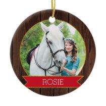 Horse Christmas rustic chic Custom Photo   Text Ceramic Ornament
