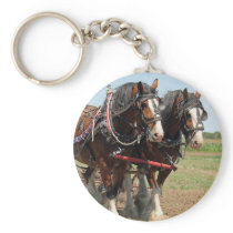 Horse Clydesdale Farming Photo Keychain