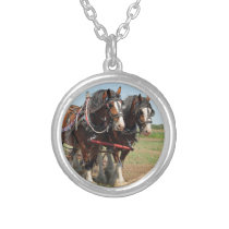 Horse Clydesdale Farming Photo Silver Plated Necklace