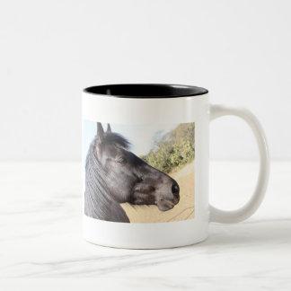 horse coffee Two-Tone coffee mug