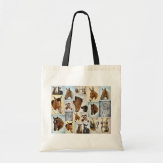 Horse Collage Canvas Tote Bag