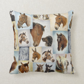 Horse Collage Throw Pillow