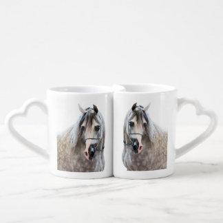 horse collection. arabian white coffee mug set