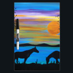 """Horse Companions Dry-Erase Board<br><div class=""""desc"""">Delightful colored sky sets the stage for the silhouette horses</div>"""