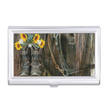 Horse Cowboy Boots Sunflowers Rustic Barn Board Business Card Case