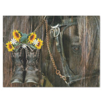 Horse Cowboy Boots Sunflowers Rustic Barn Board Tissue Paper
