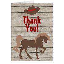 Horse, Cowboy Hat, Barn Wood Western Thank You