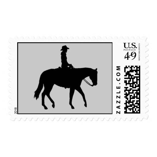 Horse Cowboy Postage Stamp