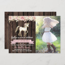 Horse Cowgirl Photo Girl Pony Birthday Party Invitation