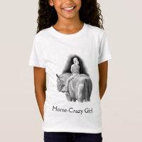 Horse-Crazy Girl: Pencil Art Girl Riding Horseback T-Shirt