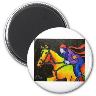 Horse Dashing 2 Inch Round Magnet
