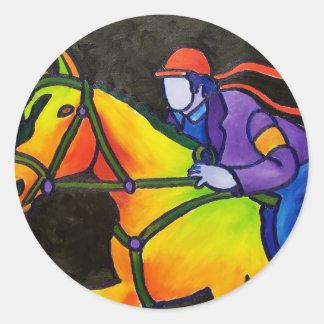Horse Dashing Classic Round Sticker