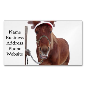 Horse deer - christmas horse - funny horse business card magnet