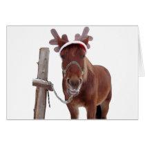 Horse deer - christmas horse - funny horse card