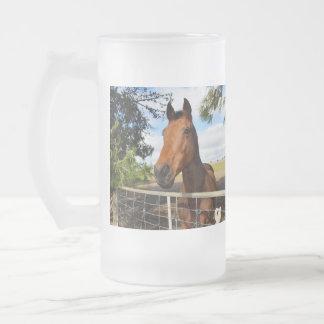 Horse_Delights, _Big_Frosted_Glass_Beer_Mug. Taza De Cristal
