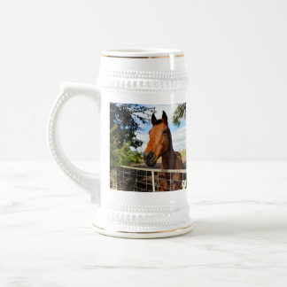 Horse_Delights, _White_Beer_Stein_Mug. Jarra De Cerveza