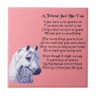 Horse Design Friend Poem Tile