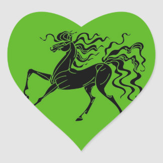 Horse design with crazy hair heart sticker
