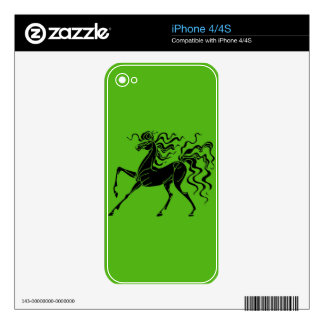 Horse design with crazy hair iPhone 4S skin