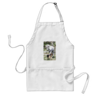 HORSE & DOG PLAY WATERCOLOR ADULT APRON