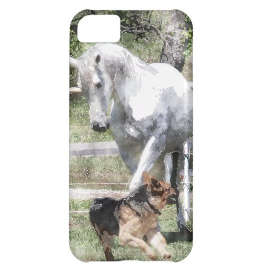 HORSE & DOG PLAY WATERCOLOR iPhone 5C CASE