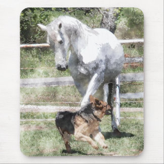 HORSE & DOG PLAY WATERCOLOR MOUSE PAD