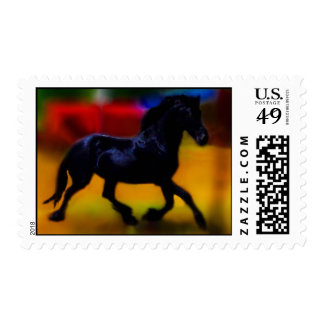 Horse doing dressage postage