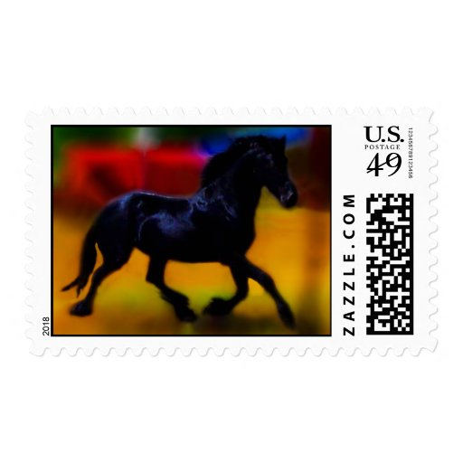 Horse doing dressage postage stamps
