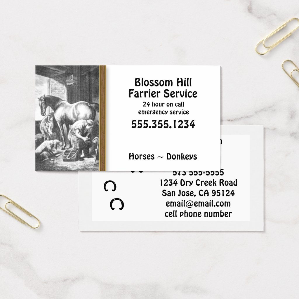 Horse Donkey Farrier Business Card